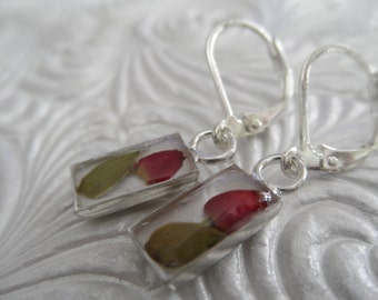 Red Rosebud Rectangle Leverback Earrings-Rare and Unusual-Symbolizes True Love-Nature's Wearable Art-Gifts Under 30