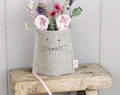 Brown Linen Mouse Jar Vase Cover