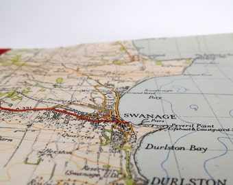 Bournemouth 1940 #5 - Swanage - Recycled Vintage Map Notebook