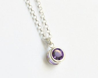 Sterling Silver Bezel Set Amethyst Necklace / Small Round Amethyst Pendant / February Birthstone Necklace / 16 inch / 18 inch/ 20 inch