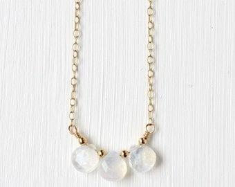 Gold Rainbow Moonstone Necklace / Three Stone Moonstone Necklace / Dainty Gemstone Necklace / June Birthstone Jewelry