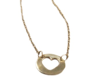 16-inch Gold Heart Necklace - Short Length Open Heart Necklace - Bronze - Free Shipping SALE