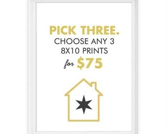 You Pick 3 8x10 Giclée Prints // The Perfect 8x10 Trio // Custom Set of 3