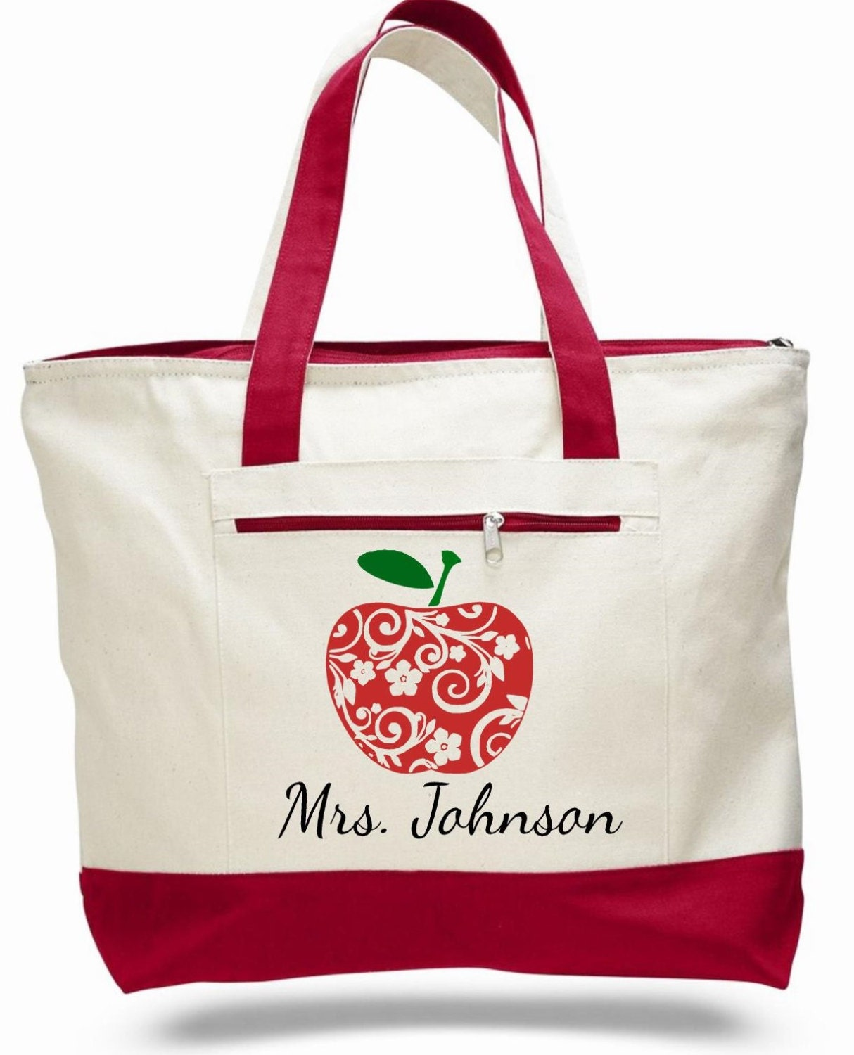 bag tote apple bag personalized