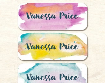 30 Name Stickers, Watercolor Background, Waterproof Stickers, Girl Stickers, Personalized Stickers, Girl Baby Bottle Labels (NS-04)