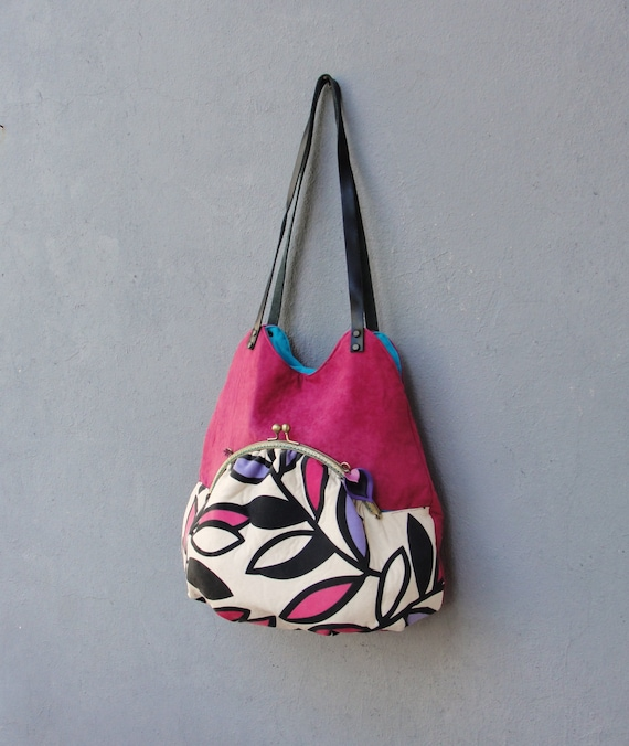 Akita Bag, Retro Leaves Vibrant Colors, Fuchsia and Turquoise Kiss lock Purse