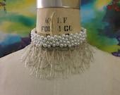 Victorian Inspired Pearl Bridal Choker Necklace - Steampunk Wedding - Headband - Garter - Boudoir - Statement Necklace