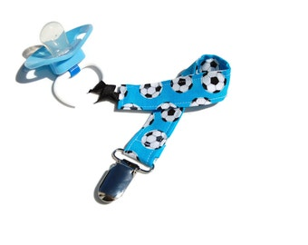 Pacifier Clip Boy - Soccer Ball Pacifier Holder - Soothie Pacifier Clip - Baby Boy Sport Clip