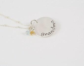 Grandma Necklace, Grandmother Necklace, Grandma Gift, Personalized Grandmother Gift, Birthstone Necklace, Grandmother Birthstone Necklace