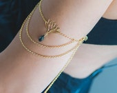 Amazone Chain Upper Arm Bracelet, Summer Beach Jewellery, Gold Arm Cuff, Lotus Arm Band, Body Jewellery