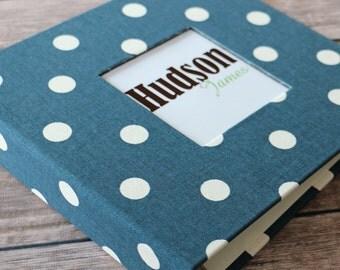 Baby Book, Baby Gift, Baby Album, Baby Memory Book, Baby Keepsake, Modern Baby Book, Navy Polka Dots Album
