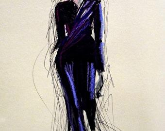 Beautiful Fashion illustration/ fashion art.Valentino suit . Unique art by Ros Webb