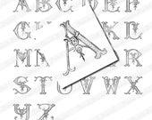 Vintage French Initials, Digital scan for 1 inch Scrabble Tile Pendants, Collage Sheet, Romantic Alphabet (001)