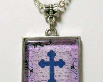 Purple cross pendant  and chain - AP05-076