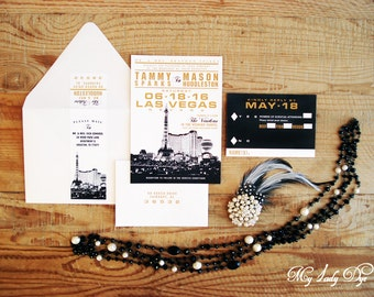 100 Las Vegas Wedding Invitations Destination Wedding Invitations - Gold and Black - By My Lady Dye