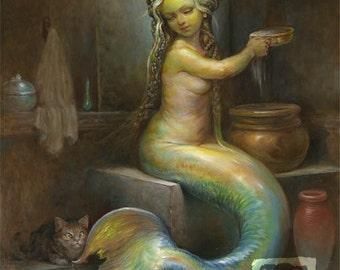 The Mermaid's Bath (print) siren, cat, bathroom decor, beach house, bathing, spa, artwork, illustration