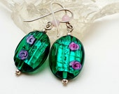Silver Green Venetian Glass Bead Dangle Earrings with Pink Roses-Silver Leaf Venetian Glass Earrings-Sterling Silver Earwires
