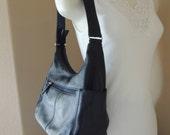 Deep Navy Blue St. John's Bay Shoulder Bag. Medium Sized Dark Blue Leather Hand Bag by St. John's Bay. Midnight Blue Leather Purse