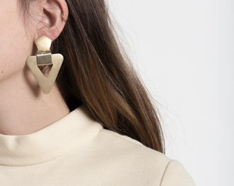 Vintage 80s Matte Gold Oversized Triangle Statement Earrings