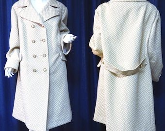 Tan and Cream Basket Weave Sears Coat Vintage 1960s Mid Century Women's Jacket - LARGER Size