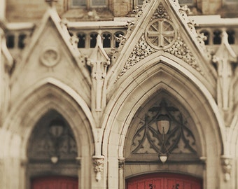 "Architecture Photography ""Cathedral Entrance"" red doors church st louis photography affordable fine art wall art. 8x10, 11x14, 16x20, 20x24"