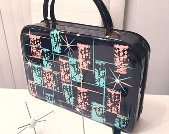 Fabulous Vintage Large Black Patent Hand Bag Handpainted by Voodude Atomics -- Atomic Mid Century