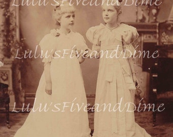 Instant Download - Beautiful Cabinet Photo of Two Young Girls - Commercial/Personal Use