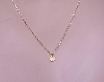 Tiny Coin Necklace, Minimal Necklace, Modern necklace, simple gold necklace sterling silver tiny pendant