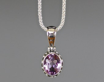 Amethyst and Silver Pendant with Chain - Single Stone Pendant - Bali Silver Pendant - Purple Faceted Gemstone Necklace - February Birthstone
