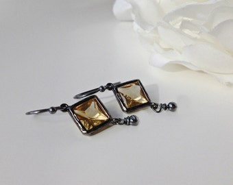 Citrine Earrings, November Earrings, November Birthstone, Citrine, Geometric Jewelry, Birthstone Earrings, November Birthstone
