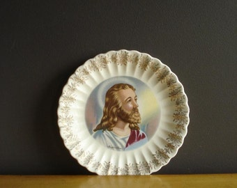"Vintage Religious Plate - Jesus Christ ""Inspiration"" Plate - Sanders's Mfg. 23k Gold"