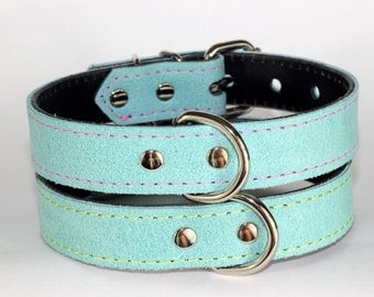 Leather Stone Washed Turquoise Collar - Light Turquoise Leather Dog Collar - Leather Dog Collar, Turquoise Leather Dog Collar