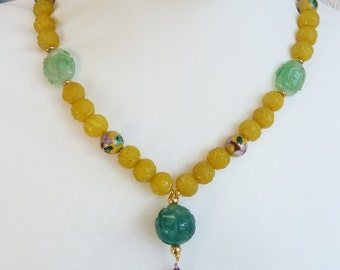 Antique Chinese Green and Yellow Jade Shou Longevity Beads Necklace with Ruby