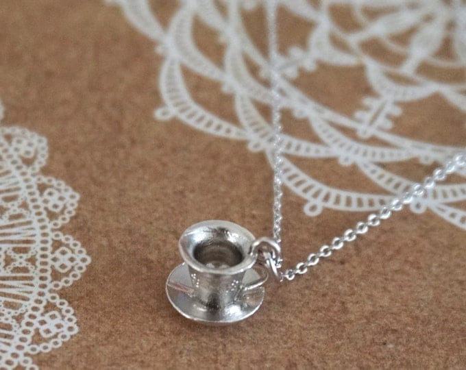 Silver Tea Cup Necklace / Alice in wonderland, garden wedding, bridesmaid bridal shower necklace, gifts for her, fairy tale, under USD10