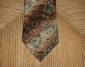 Paisley Necktie 1970s Necktie 1970s Tie Vintage Tie Wide Necktie Green Brown Polyester Tie Wide Tie Paisley Tie Mens Tie 7th Ave By Liebert