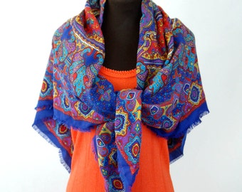 Large shawl wrap scarf paisley Made in Italy blue red gold table topper colorful