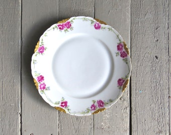 Vintage Plate, Collectible Plate, Floral Plate, Cottage Chic, Serving, Dining Decor, Victorian, Pink Roses