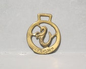 Capricorn Zodiac Sign Horse Brass / Sea Goat Vintage Harness Plaque Astrology Equestrian Talisman Medal Medallion Bags and Purses Making Fob