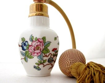 Aynsley Perfume Spray Atomizer PEMBROKE BIRD & FLOWERS Fine English Bone China Atomiser Gold Tassel
