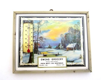 PURDIN MO Owens Grocery Framed Advertising Thermometer and Calendar VINTAGE 1959