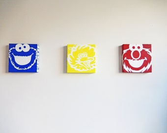 Sesame Street Acrylic Paintings // Children's Room Art // Blue, Yellow, Red & White Characters with Names // Hand painted, Nursery Decor