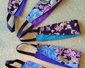 Headband, hair accessory, black, purple, blue, floral headband