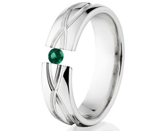 Tension Set Ring, 6mm, Uniquely You, Infinity, Emerald, 6HR-T8-Infinity