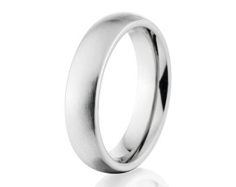 Cobalt Chrome Rings, Cobalt Wedding Band, 5mm Cobalt Ring USA Made Wedding Ring : CB-5HR-B