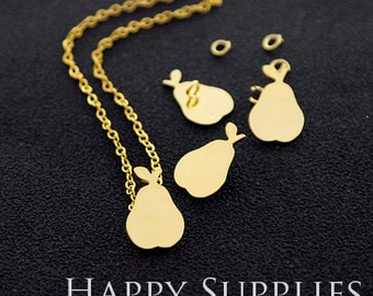 """Nickel Free - High Quality Pear Golden / Silver Plated Brass 16"""" Long Chain Necklace Set (N19)"""