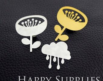 Exclusive - 2pcs 24K Golden / 925 Silver Brass Flower / Cloud  Brooch