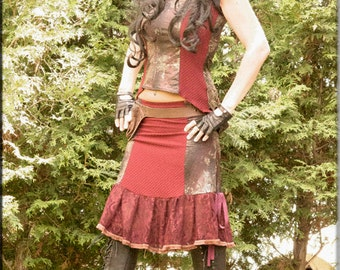 SALE - Skirt - Steampunk - Burning Man - Bohemian - Playa Wear - Gypsy - Vintage Cowgirl - Sexy Fashion - Red Skirt - Patchwork - Size Small