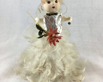 Vintage Feather Christmas Tree Angel. Feather Angel Tree Decoration. Made in Japan 1950s. Real Feather Dress. Feather Hair. Plaster Head.