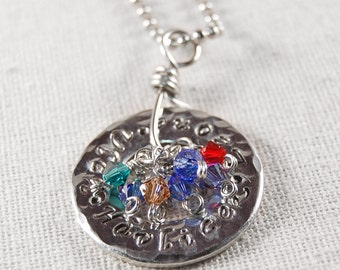 Mothers Necklace Grandmothers Necklace Personalized Necklace Sterling Silver Necklace Personalized Pendant Necklace