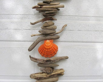 Driftwood Mobile With Orange and White Shell-DC1172